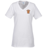 5.4 oz. Tag Free V-Neck T-Shirt - Ladies' - White - Emb