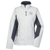 View Image 1 of 2 of Crossland Colorblock Soft Shell Jacket - Ladies' - 24 hr