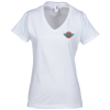 Anvil Ringspun 4.5 oz. V-Neck T-Shirt - Ladies' - White - Embroidered