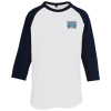 Colorblock 3/4 Sleeve Cotton Baseball T-Shirt - Embroidered