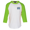Colorblock 3/4 Sleeve Cotton Baseball T-Shirt - Youth - Embroidered