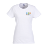 Gildan 5.3 oz. Cotton T-Shirt - Ladies' - Embroidered - White - 24 hr