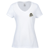Optimal Tri-Blend V-Neck T-Shirt - Ladies' - White - Embroidered