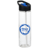 View Image 1 of 3 of Clear Impact Halcyon Water Bottle with Two-Tone Flip Straw - 24 oz.