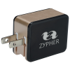 View Image 1 of 6 of 2 Port USB Folding Wall Charger - Light-Up Logo
