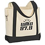 Two-Tone Accent Gusseted Tote Bag - 24 hr