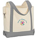 Two-Tone Accent Gusseted Tote - Embroidered