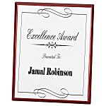 Rosewood Finished Plaque with Aluminum Plate - 10