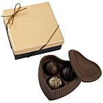 Chocolate Heart Box with Truffles - Gold Box