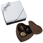 Chocolate Heart Box w/Truffles - Silver Box