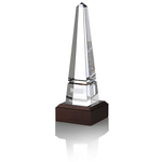 Pinnacle Obelisk Crystal Award - Mahogany Base