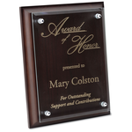 Walnut Finished Plaque with Jade Glass Plate - 9