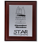 Cherry Finished Wood Plaque with Aluminum Plate - 10""