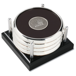 Four Coasters with Black Acrylic Tray - Round Medallion
