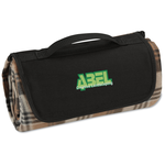 Roll-Up Blanket – Brown/Black Plaid with Black Flap