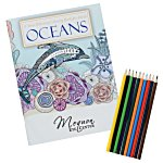 Stress Relieving Adult Coloring Book & Pencils - Ocean
