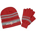 Striped Cuff Beanie and Glove Set