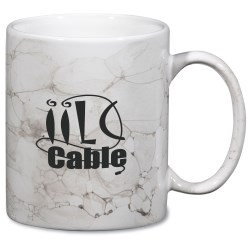 View a larger, more detailed picture of the Marble Mug - White - 11 oz