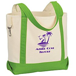 View a larger, more detailed picture of the Two-Tone Accent Gusseted Tote Bag