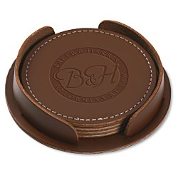 View a larger, more detailed picture of the Leather 4-Piece Coaster Set