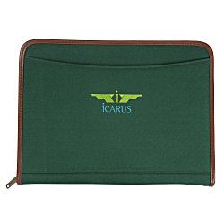 View a larger, more detailed picture of the Zippered Polyester Portfolio - Embroidered