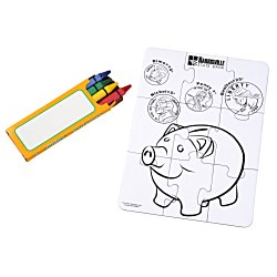 View a larger, more detailed picture of the Coloring Puzzle & Crayons - Bank