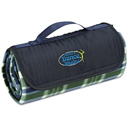 View a larger, more detailed picture of the Roll-Up Blanket Green Navy Plaid with Navy Flap