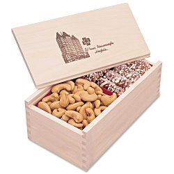 View a larger, more detailed picture of the Wooden Box with Toffee & Cashews