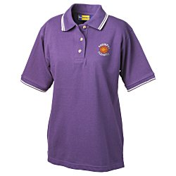 View a larger, more detailed picture of the Stain Release Tipped Pique Polo - Ladies