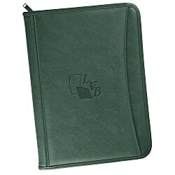 View a larger, more detailed picture of the Zippered Vinyl Portfolio - Debossed - 24 hr