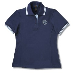 View a larger, more detailed picture of the Stripe Collar Trim Pique Polo - Ladies