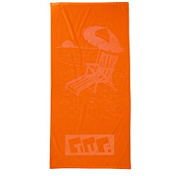 View a larger, more detailed picture of the Tone on Tone Stock Art Towel - Chair with Umbrella