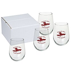 View a larger, more detailed picture of the Stemless White Wine Glass Set - 17 oz - Colored Box