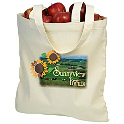 View a larger, more detailed picture of the Cotton Sheeting Natural Economy Tote - 15-1 2 x 15 - Full Color
