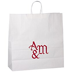 View a larger, more detailed picture of the Kraft Paper White Shopping Bag 18-3 4 x 18