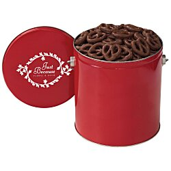 View a larger, more detailed picture of the Chocolate Mini Pretzel Tin - Solid - 1 Gallon
