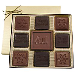 View a larger, more detailed picture of the Centerpiece Chocolates - 6 oz - Happy Holidays & Snowflake