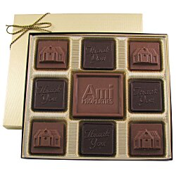 View a larger, more detailed picture of the Centerpiece Chocolates - 6 oz - Thank You & House