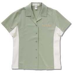 View a larger, more detailed picture of the Knit Ottoman Color Block Camp Shirt - Ladies