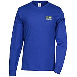View a larger, more detailed picture of the Hanes Tagless LS T-Shirt - Embroidered - Colors