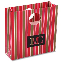 View a larger, more detailed picture of the Round Handle Gift Bag - Fuchsia Stripe