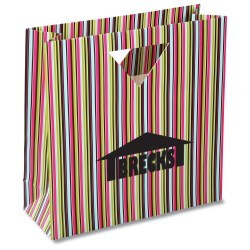 View a larger, more detailed picture of the Triangle Handle Gift Bag - Green Stripe