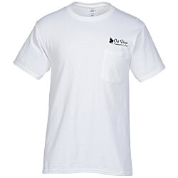 View a larger, more detailed picture of the Hanes Tagless Pocket T-Shirt - Screen - White