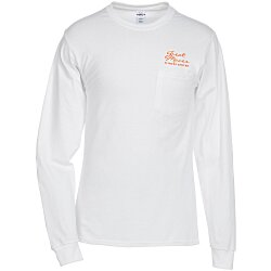 View a larger, more detailed picture of the Hanes Tagless LS Pocket T-Shirt - Screen - White