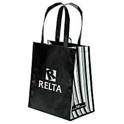 View a larger, more detailed picture of the Laminated PET Tote with Striped Gusset