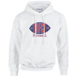 View a larger, more detailed picture of the Gildan 50 50 Hooded Sweatshirt - Applique Twill - White