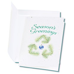 View a larger, more detailed picture of the Seeded Holiday Card - Season s Greenings Recycle