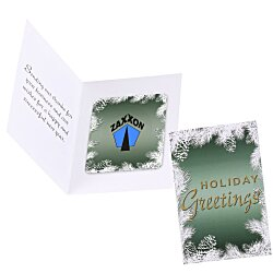 View a larger, more detailed picture of the Greeting Card with Magnetic Photo Frame - Holiday Evergreen