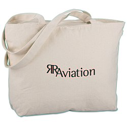 View a larger, more detailed picture of the Signature Cotton 12 oz Zippered Tote -24 hr