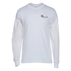 View a larger, more detailed picture of the Gildan 5 3 oz Cotton LS T-Shirt - Screen - White